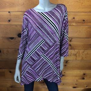 Alfani NWT Pink/Purple Multi Angle Swing Top XL